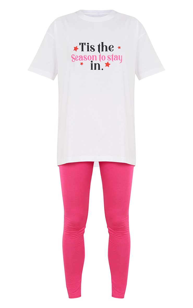 Pink Tis' The Season To Stay In T-Shirt And Legging PJ Set 5