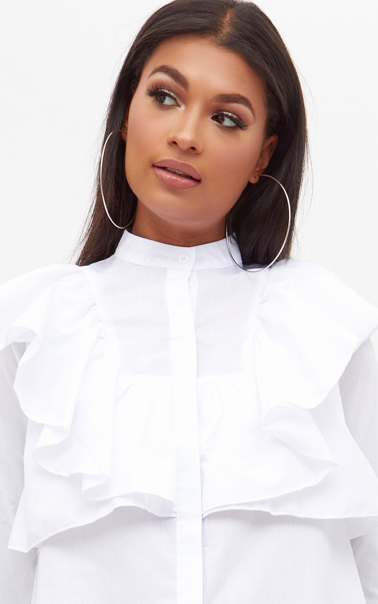 Flora White Frill Front Shirt Dress 5