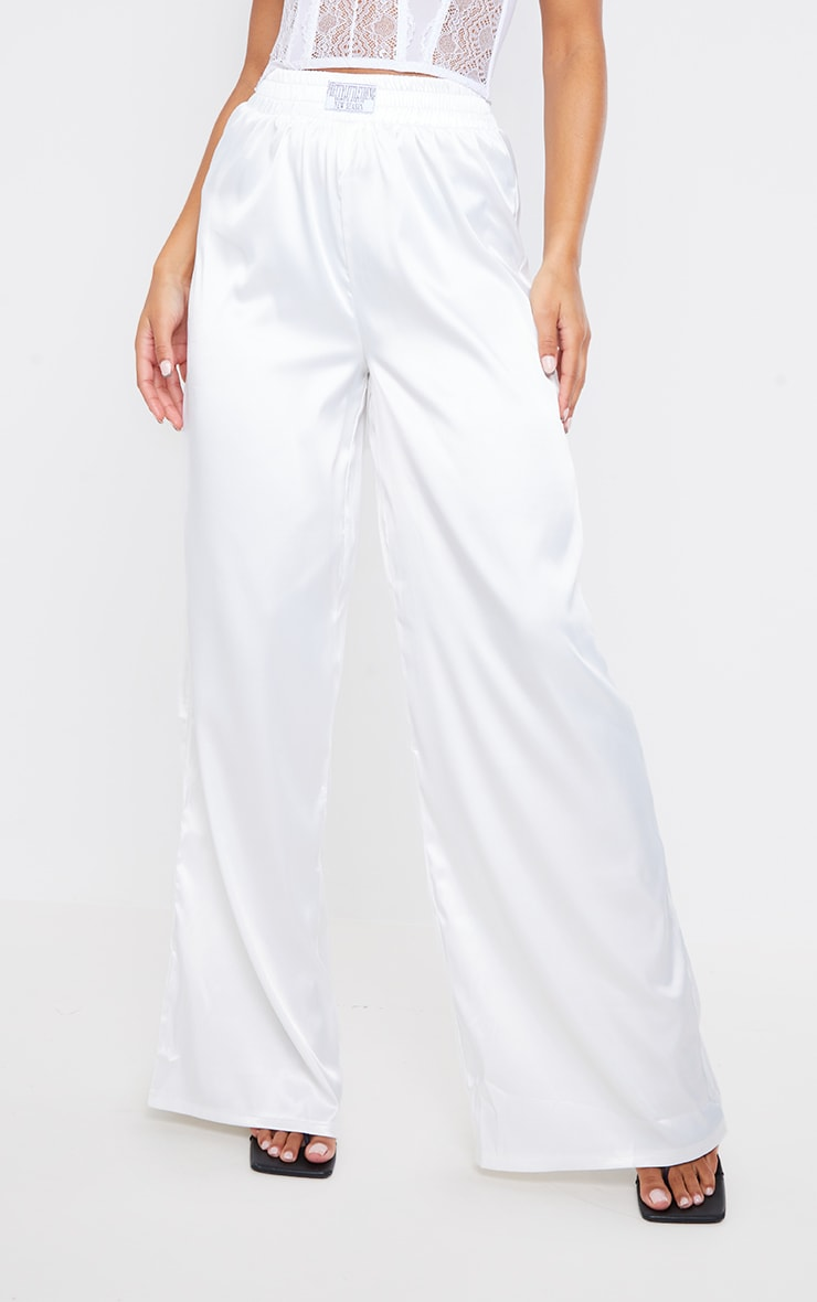 PRETTYLITTLETHING White Badge Satin Wide Leg Trousers 2