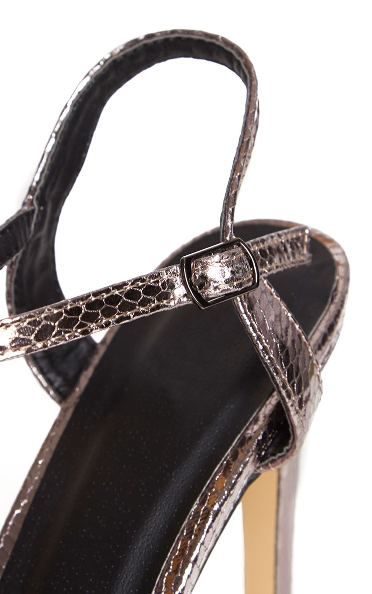 Jamie-Lee Pewter Bar Detail One Strap Sandals 6