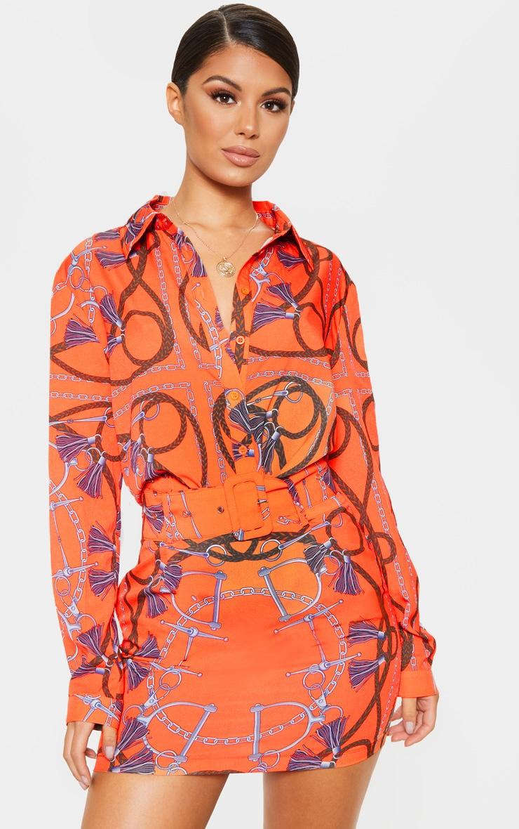 Orange Chain Printed Oversized Shirt 1