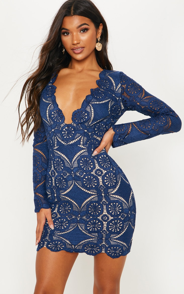 Navy Crochet Lace Plunge Bodycon Dress 3