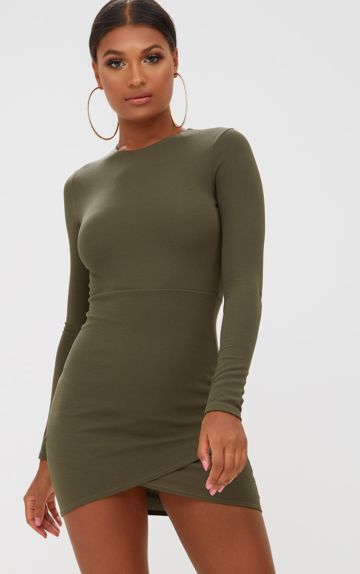 Khaki Long Sleeve Wrap Skirt Bodycon Dress 1
