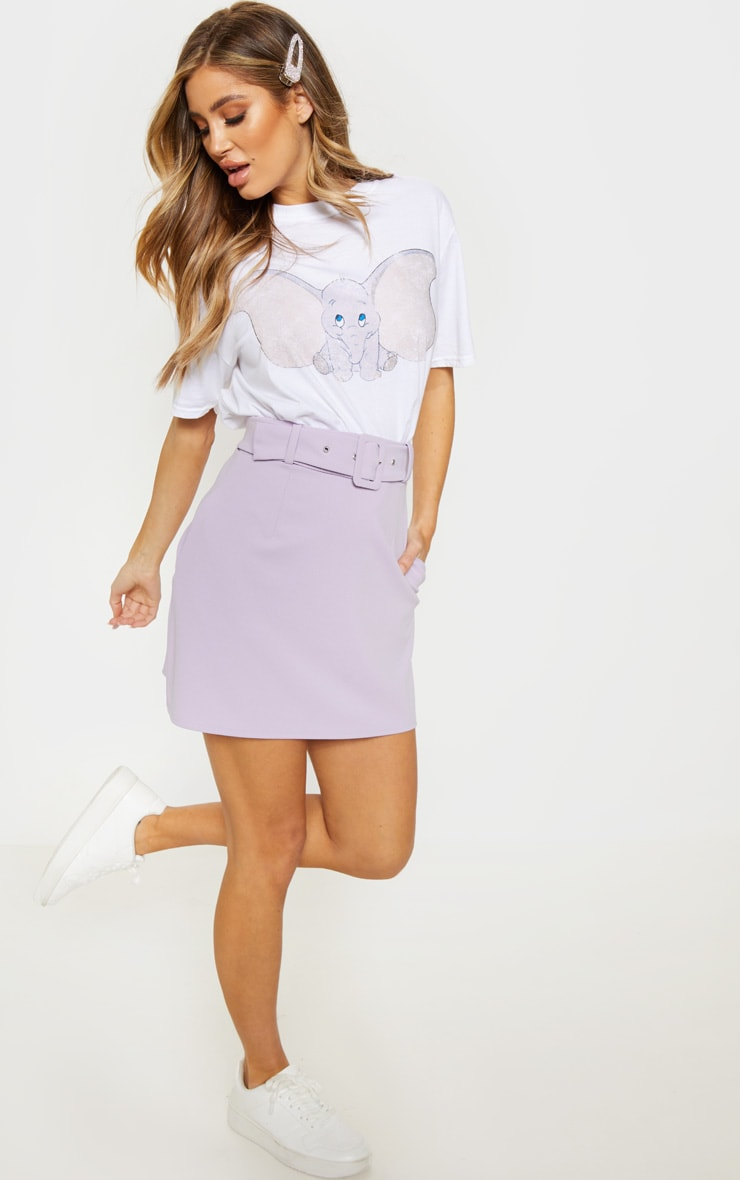 Lilac Belted A Line Mini Skirt  5