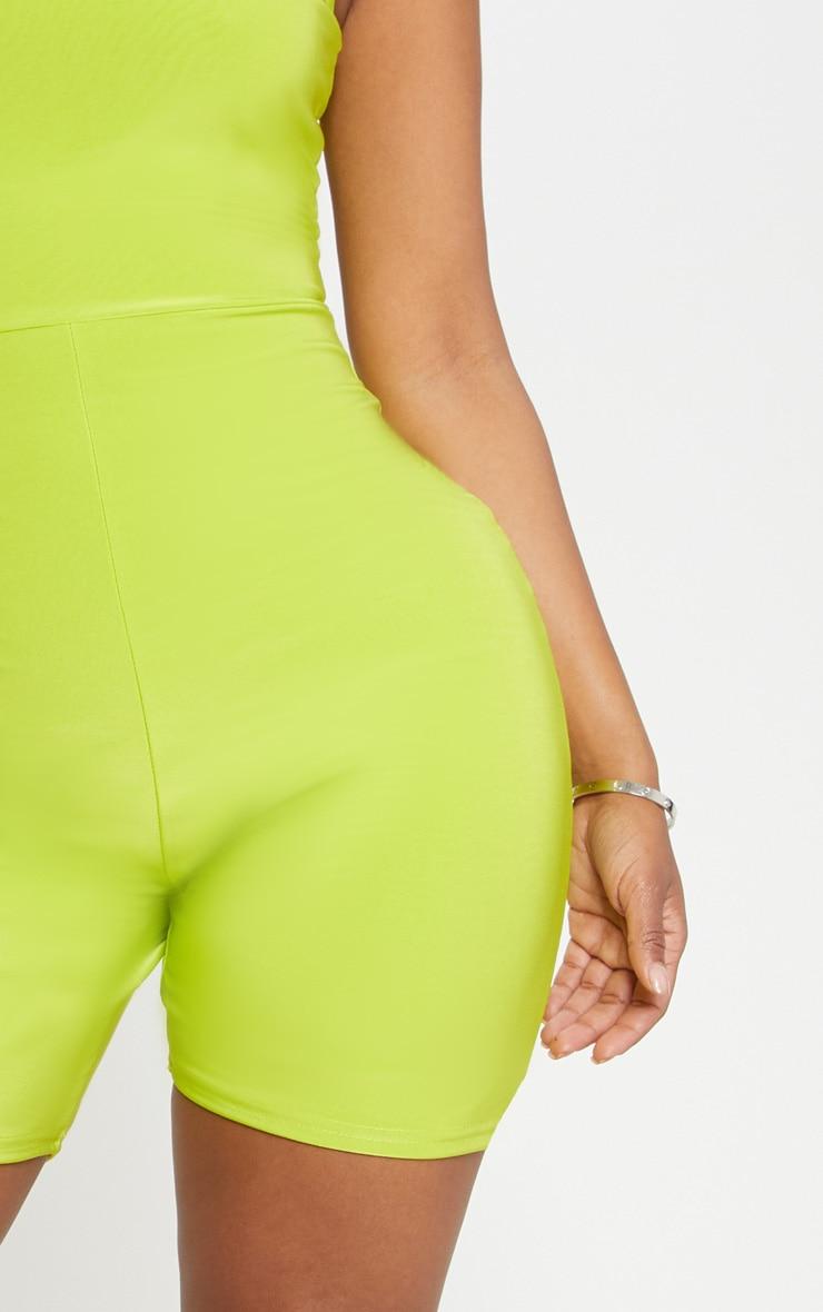Shape - Combinaison moulante vert citron fluo à col rond 5