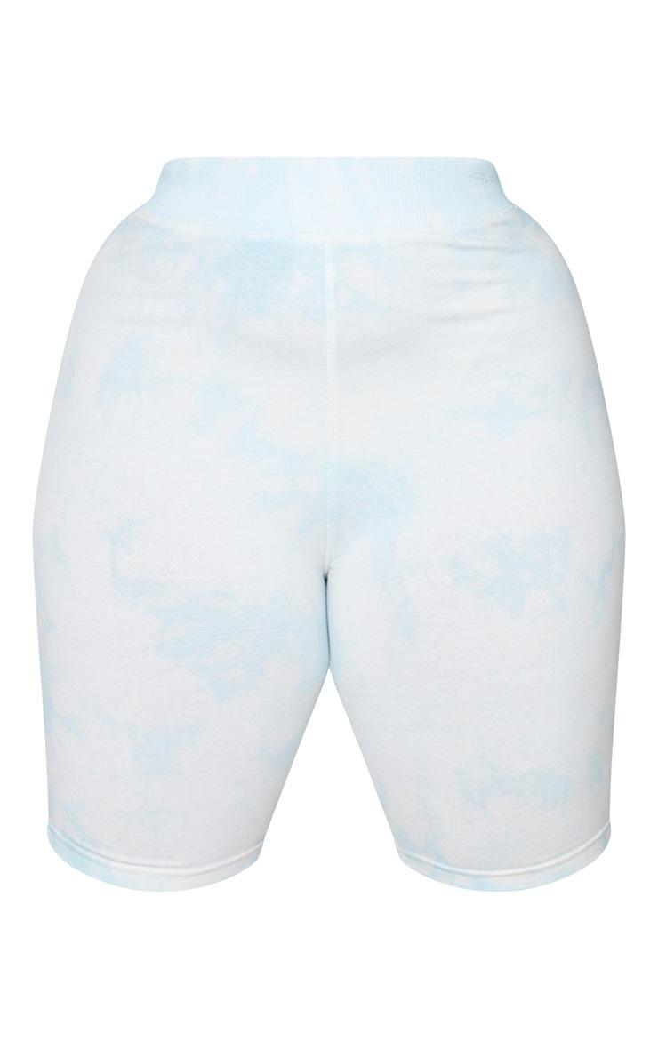 Plus Dusty Blue Tie Dye Cotton Bike Short 6