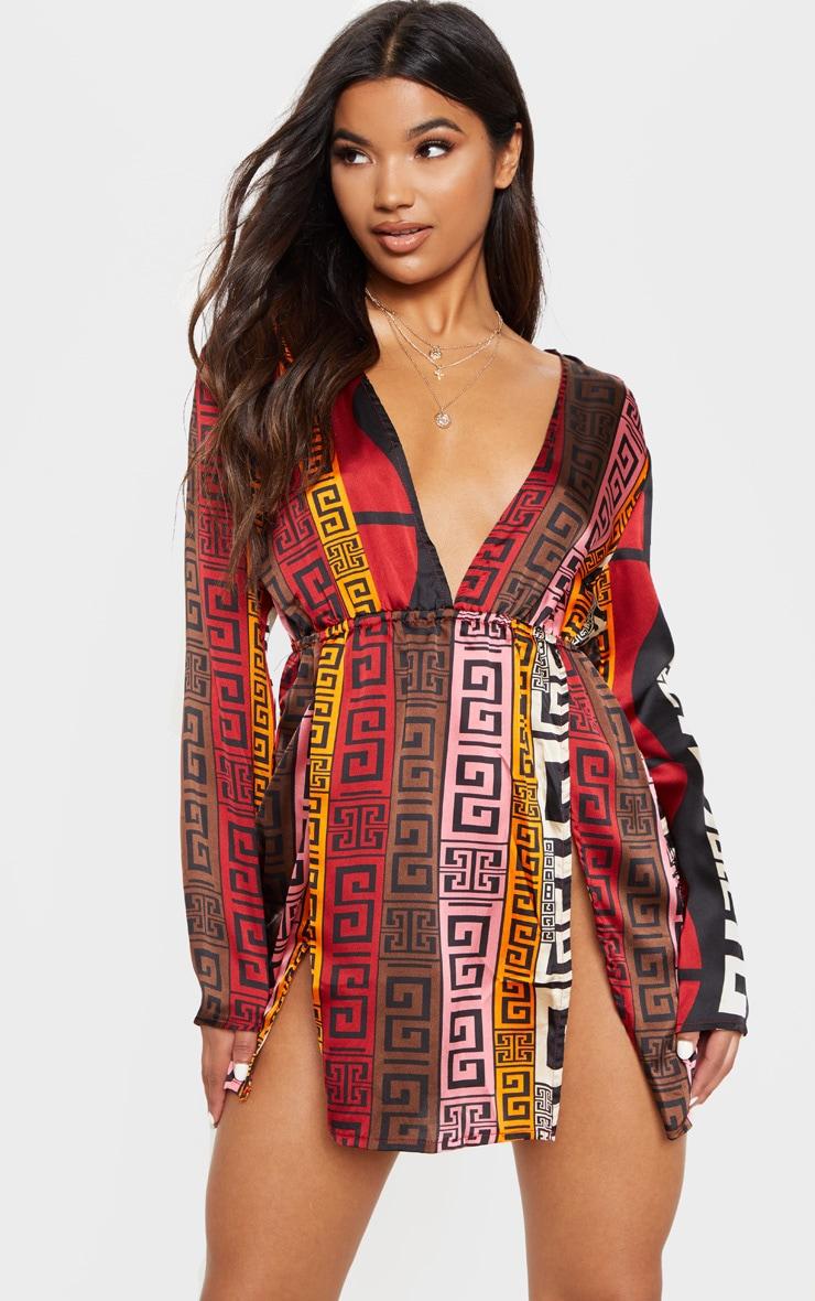 Chocolate Brown Aztec Print Plunge Split Detail Bodycon Dress 1
