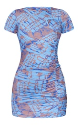 Blue Marble Print Ruched Short Sleeve Bodycon Dress 5
