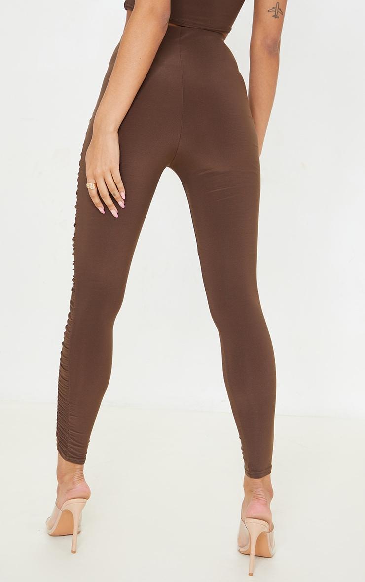 Chocolate Brown Slinky Ruched Side Panel Leggings 3
