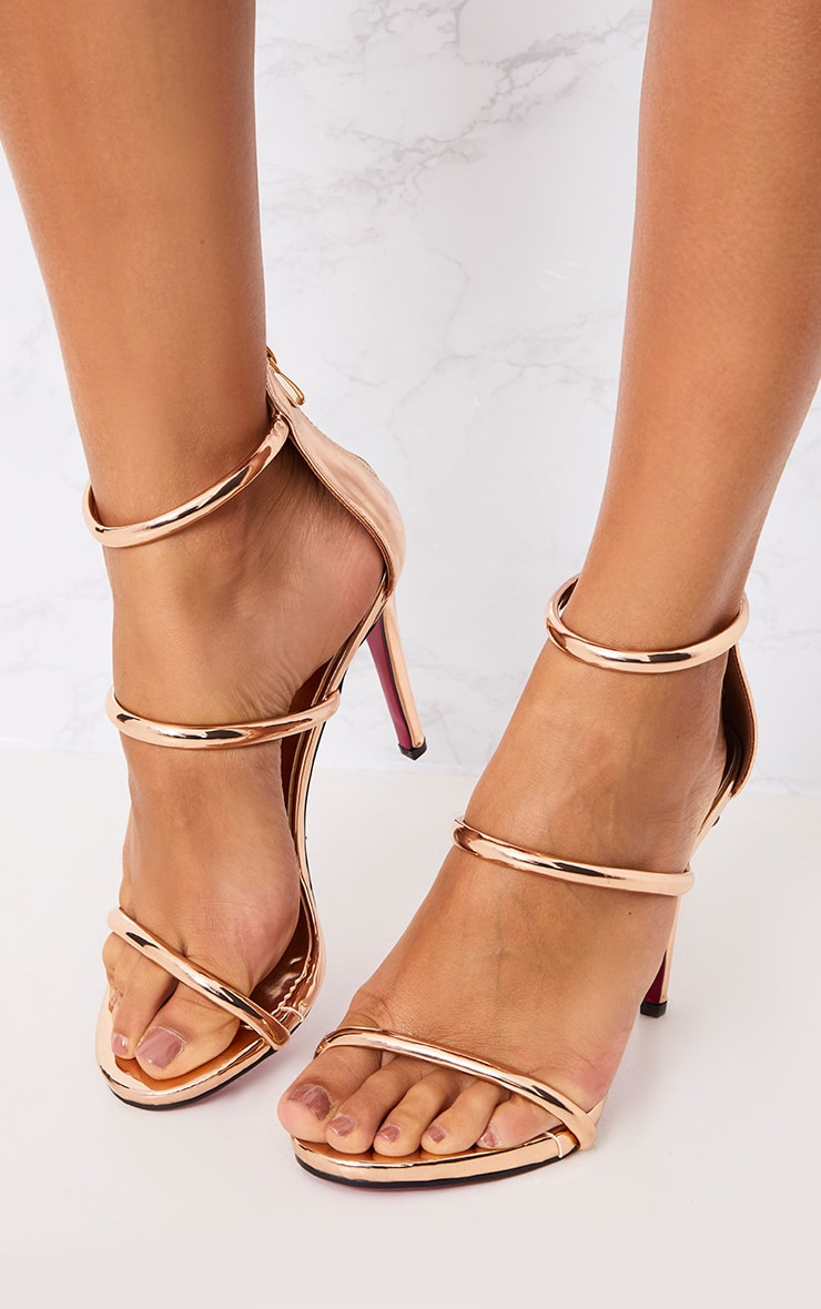 Marthea Rose Gold Tube Strap Heeled Sandals 2