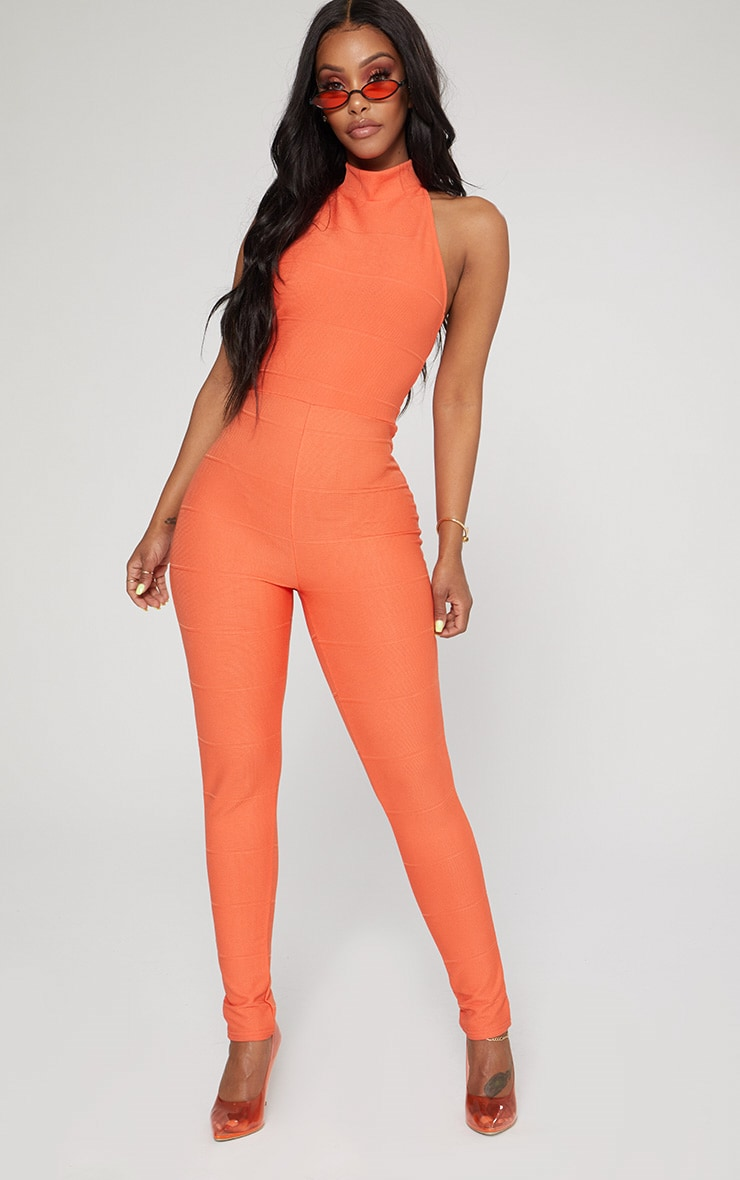Shape Orange Bandage High Neck Jumpsuit 2