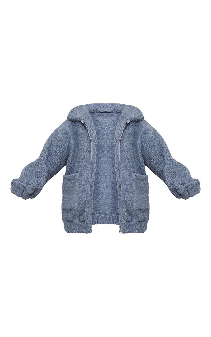 Grey Oversized Borg Pocket Front Coat 5