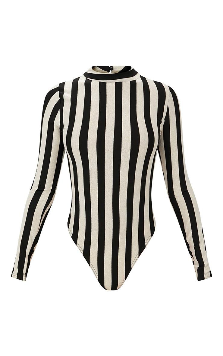 Monochrome Stripe Longsleeve Thong Bodysuit 3