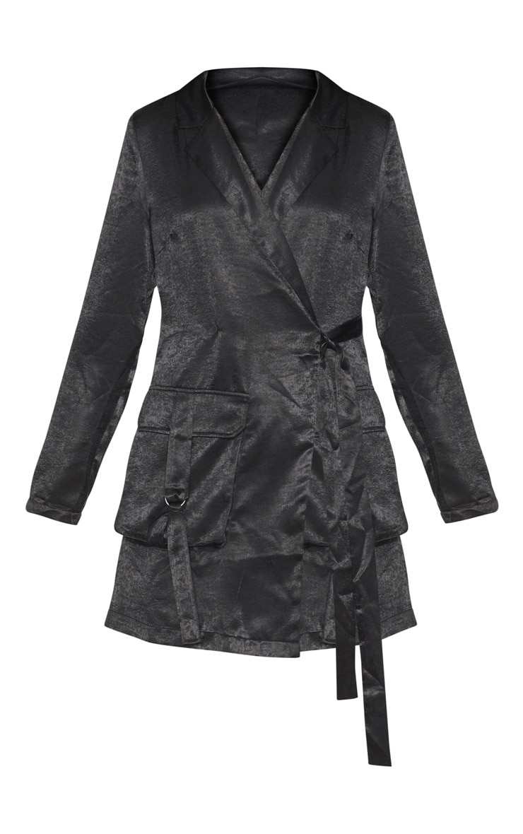 Black Satin Utility Blazer Dress 3