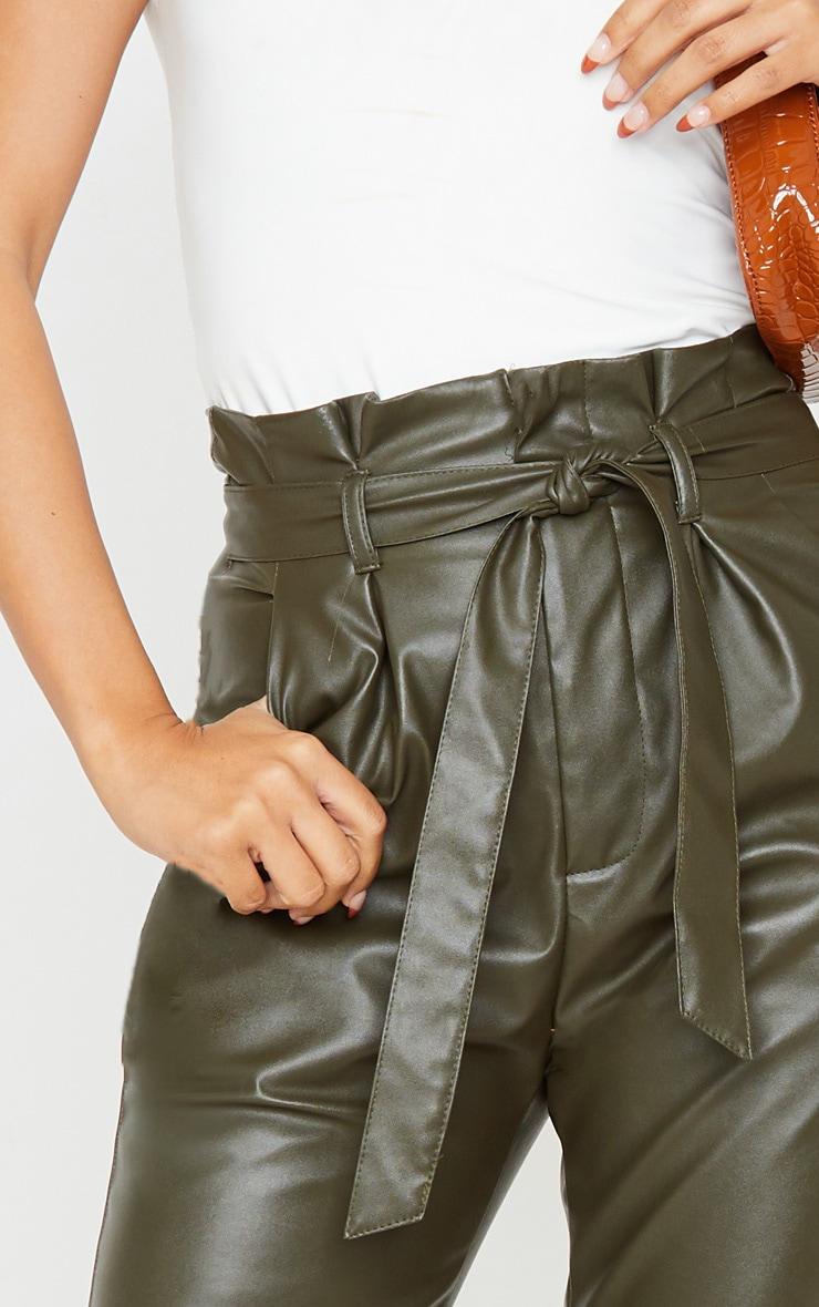 Khaki Tie Waist PU Trouser 5