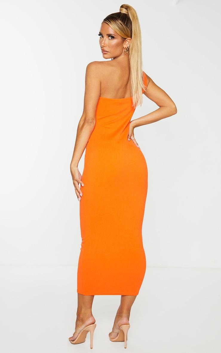 Orange Ribbed One Shoulder Underbust Detail Midaxi Dress 3