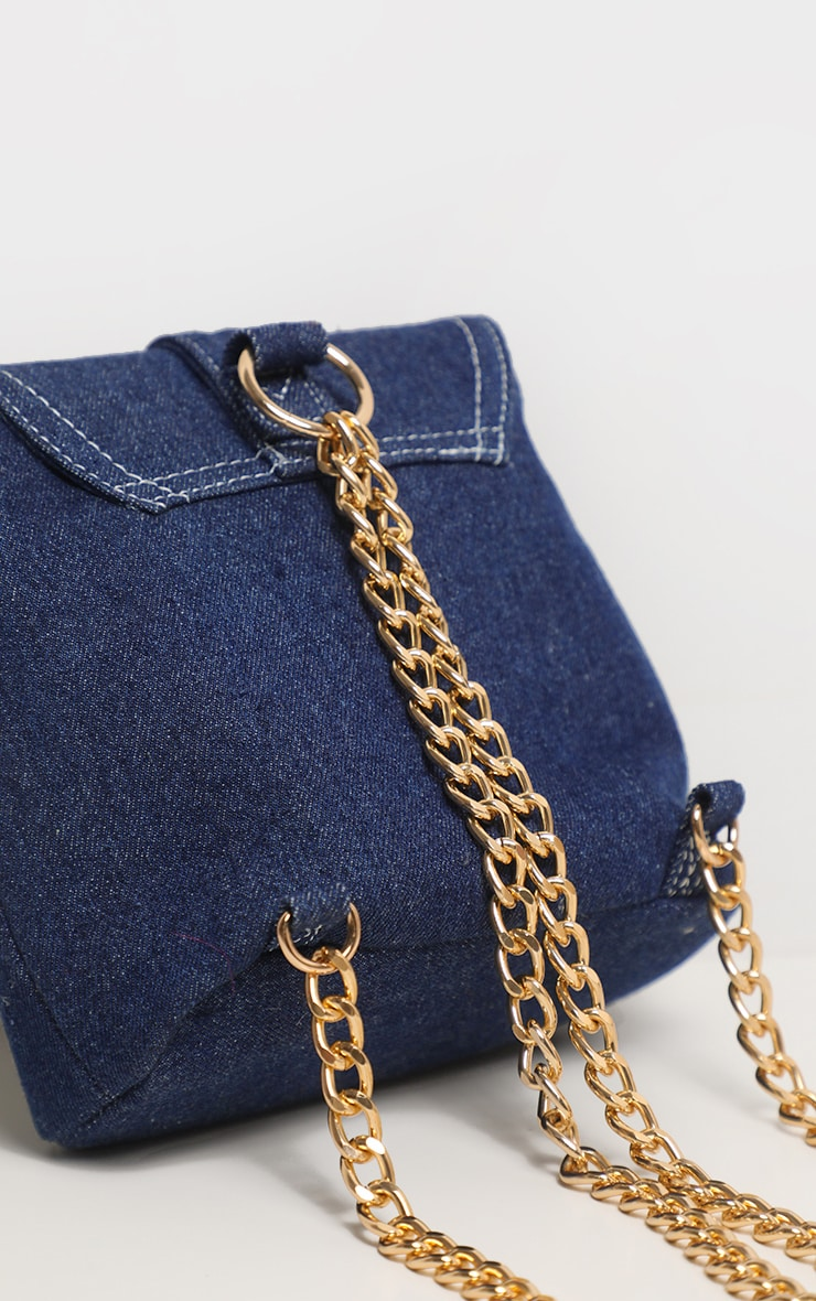 Denim Western Buckle Mini Backpack 3