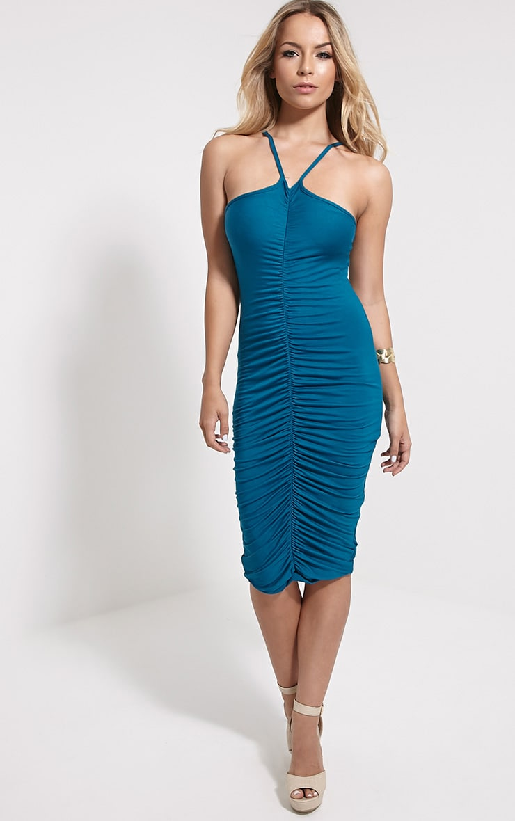 Tarina Teal Ruched Front Midi Dress 4