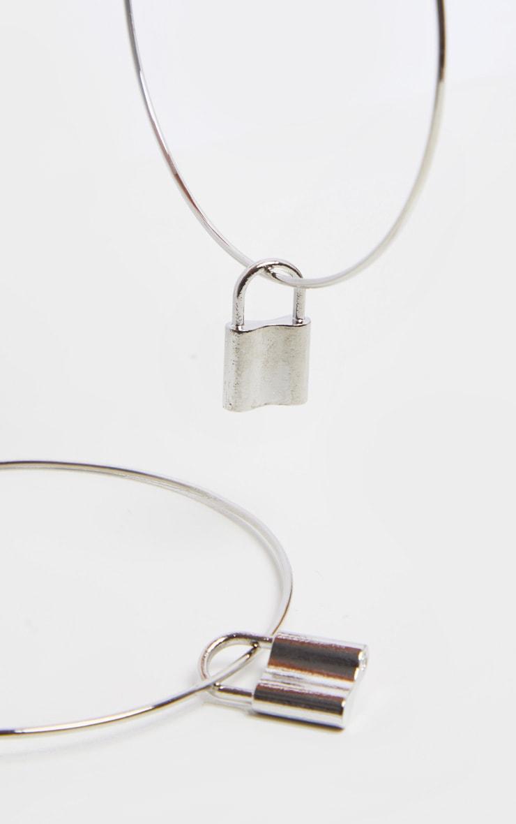 Silver Padlock Charm Extra LargeHoop Earrings 3