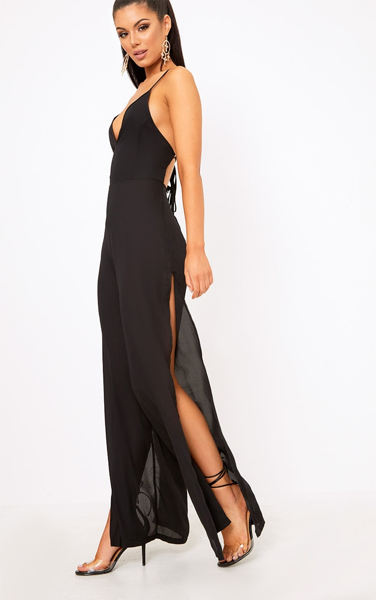 Black Plunge Side Split Leg Jumpsuit  5