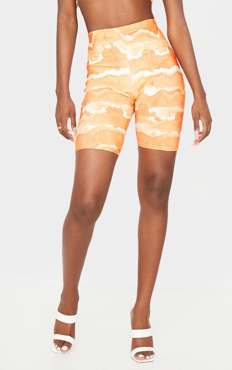 Tall Orange Tie Dye Cycle Crinkle Shorts 2