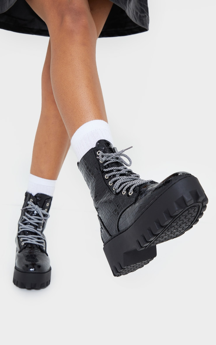 Black Croc PU Hiker Lace Up Chunky Boots 1