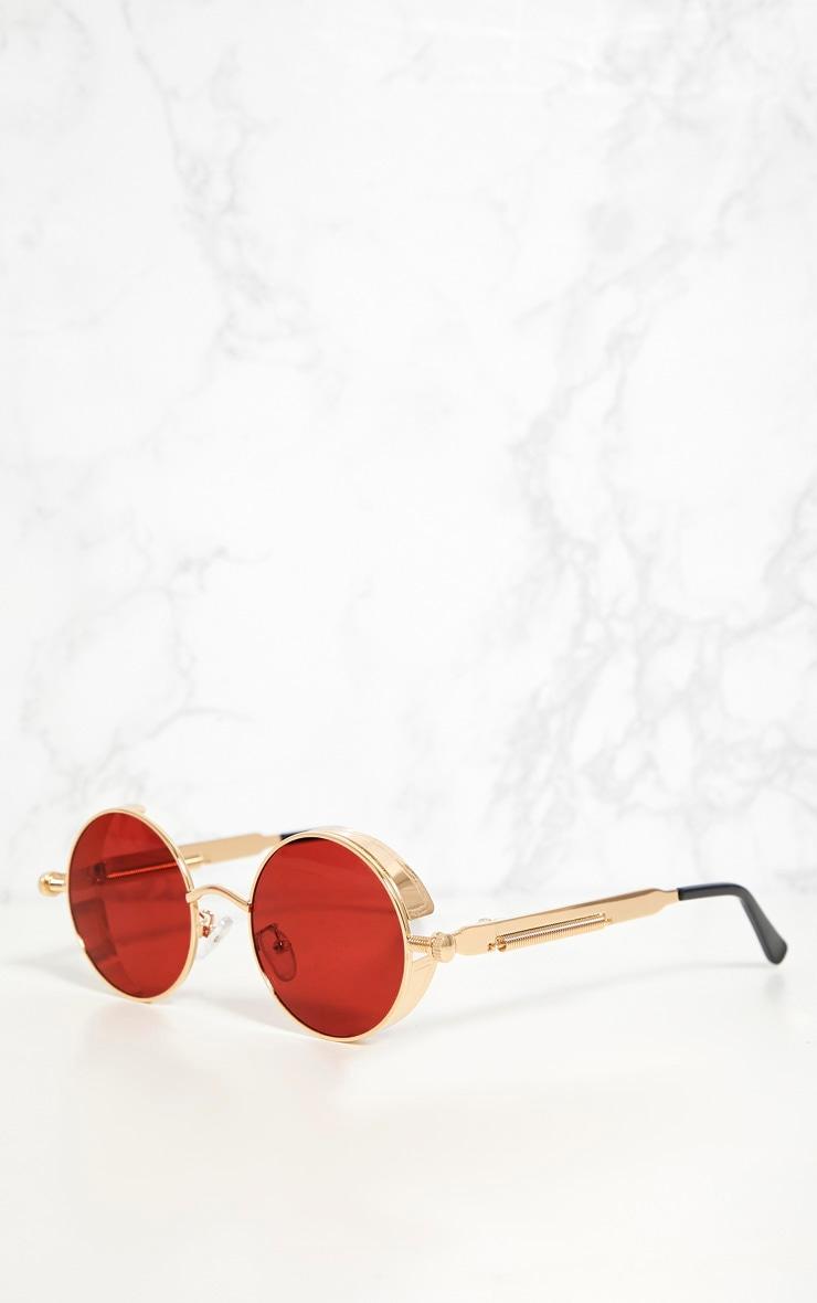 Gold Round Frame Red Lens Spring Sunglasses 3