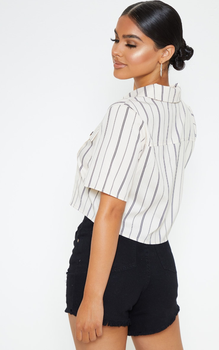 Petite Stone Stripe Cropped Shirt 2