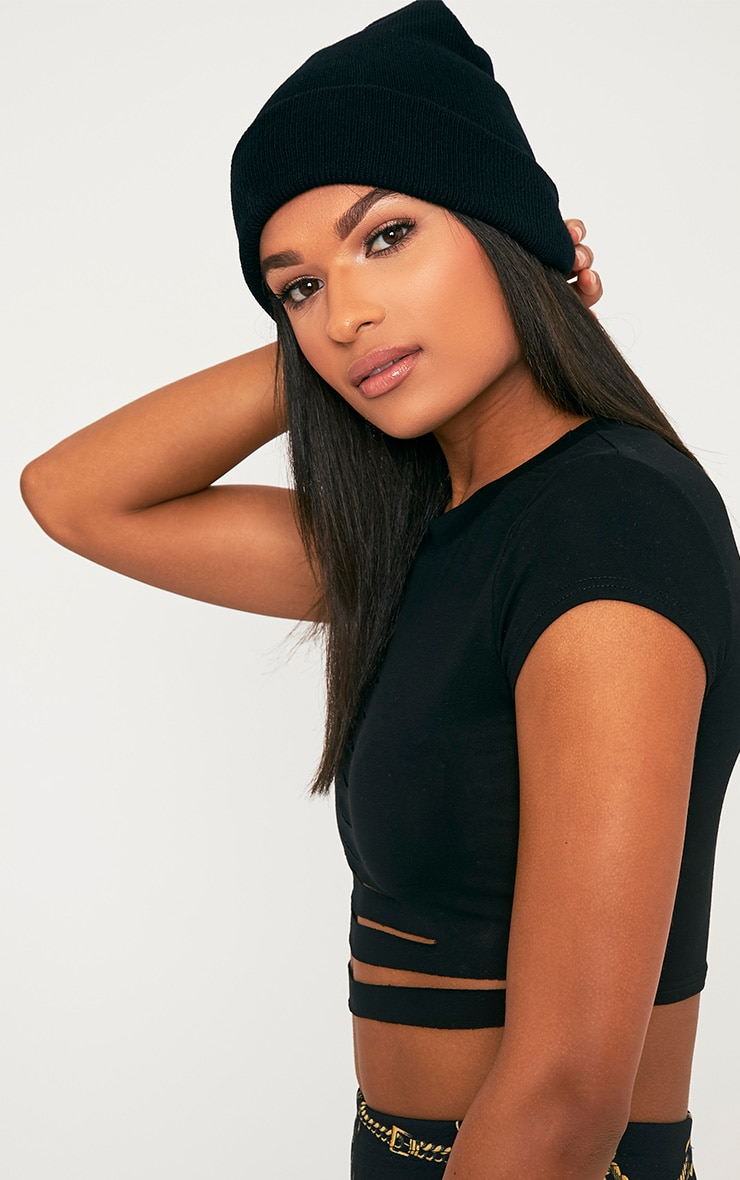 Pollee Black Beanie Hat Pretty Little Thing
