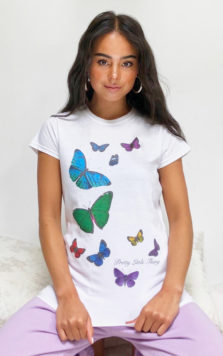 PRETTYLITTLETHING White Butterfly Placement Print T Shirt 1