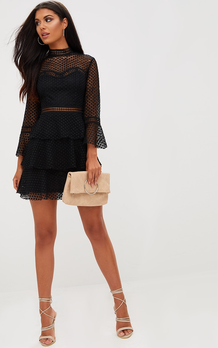 Black Flare Sleeve Lace Tiered Mini Dress 4