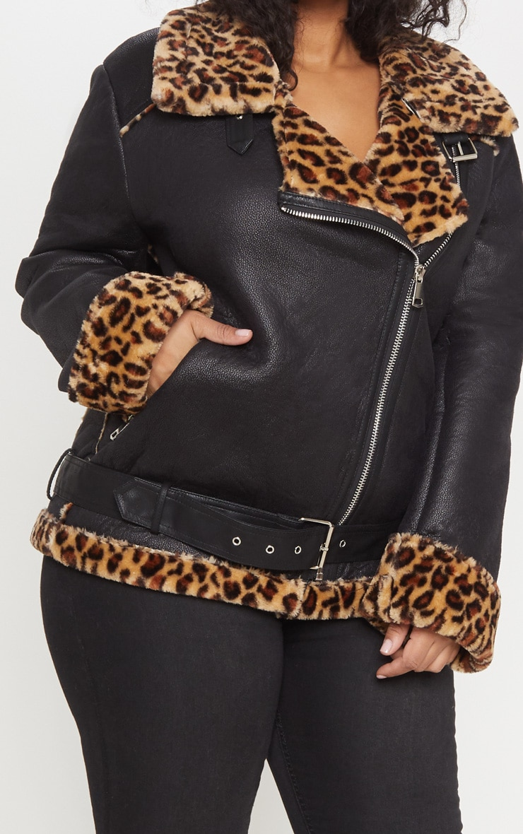 Plus Tan Leopard Print Aviator Coat 5