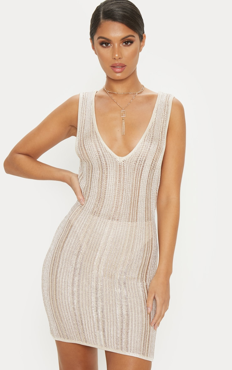 Gold Striped Metallic Knitted Dress