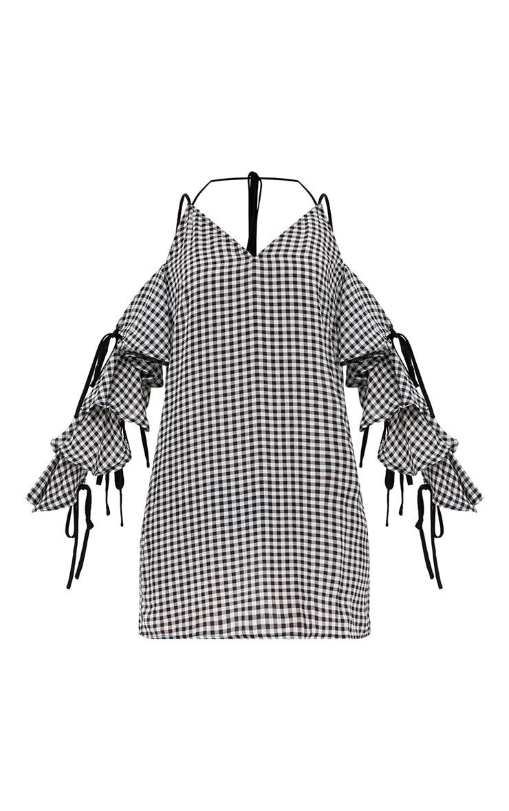 Black Gingham Tie Detail Shift Dress 3