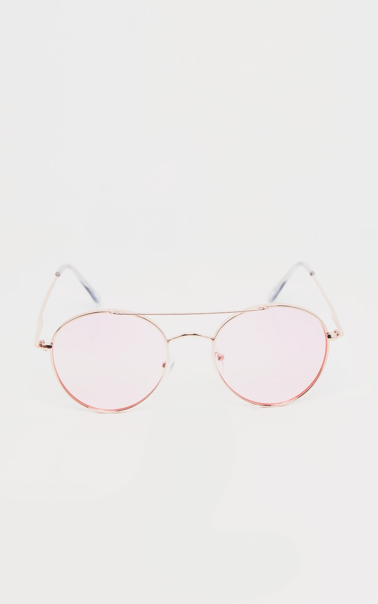 Pink Retro Round Aviator Sunglasses 2