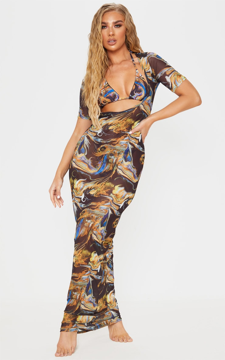 Black Acid Print Short Sleeve Scoop Neck Mesh Maxi Dress 1