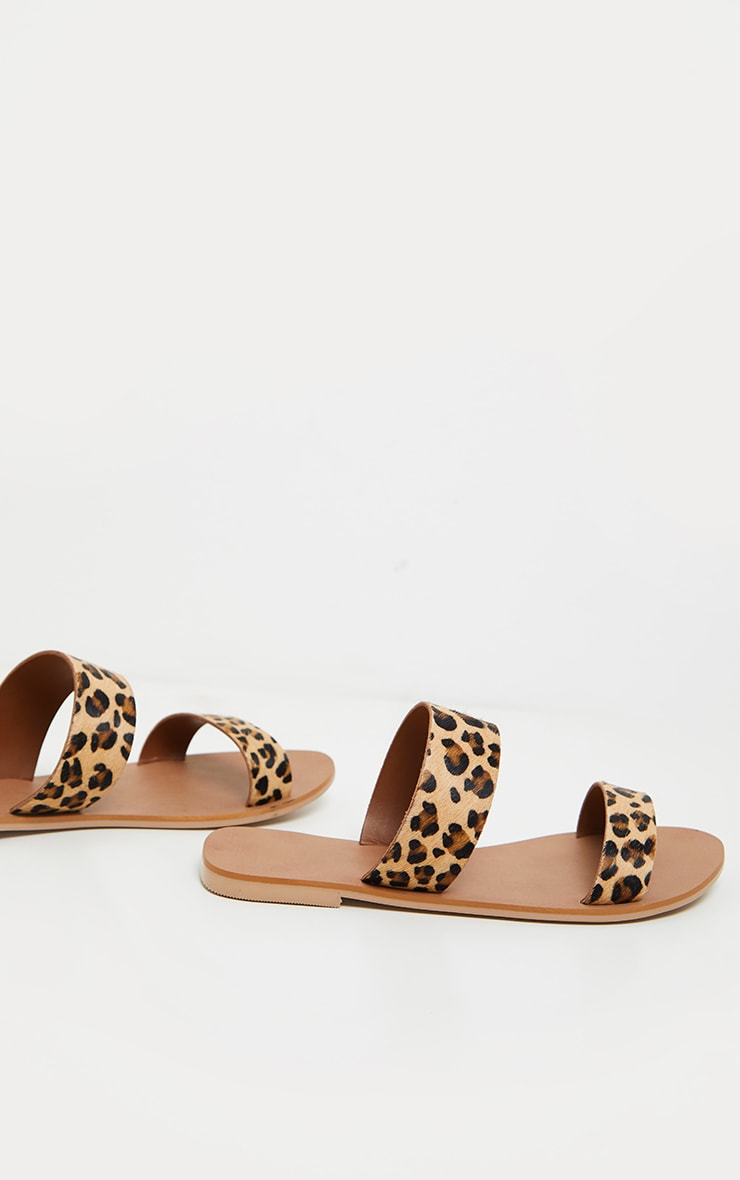 Leopard Twin Strap Basic Leather Sandal 5