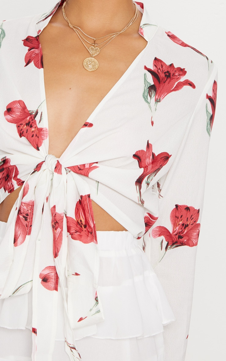 White Rose Print Tie Front Blouse 5
