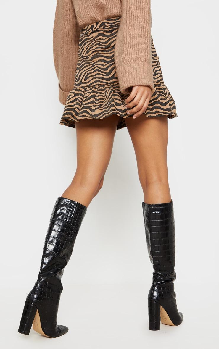 Tan Zebra Print Flippy Hem Mini Skirt 4
