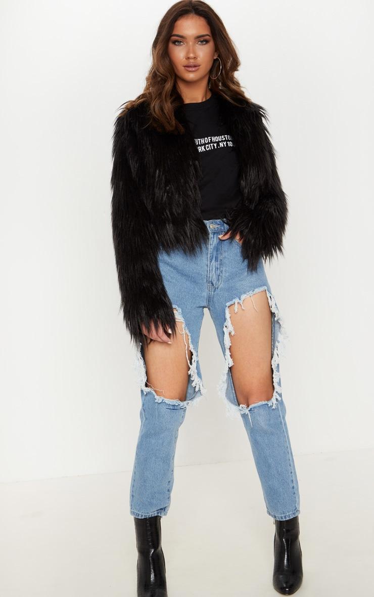 Liddie veste courte en fausse fourrure noire 4