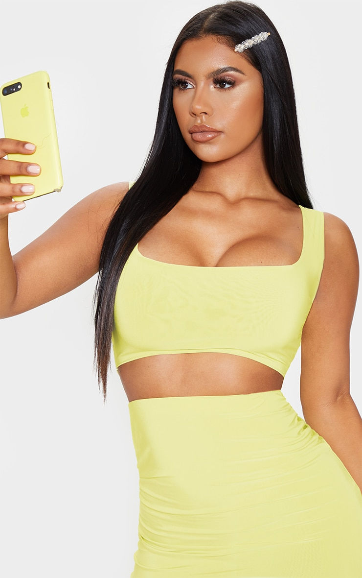 Lime Slinky Square Neck Sleeveless Crop Top 5