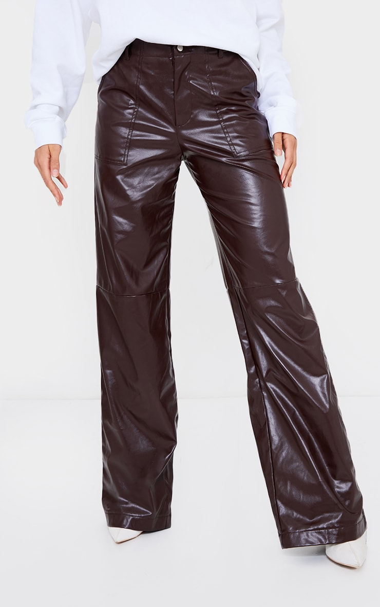 Chocolate Faux Leather Stitch Detail Wide Leg Trousers 2