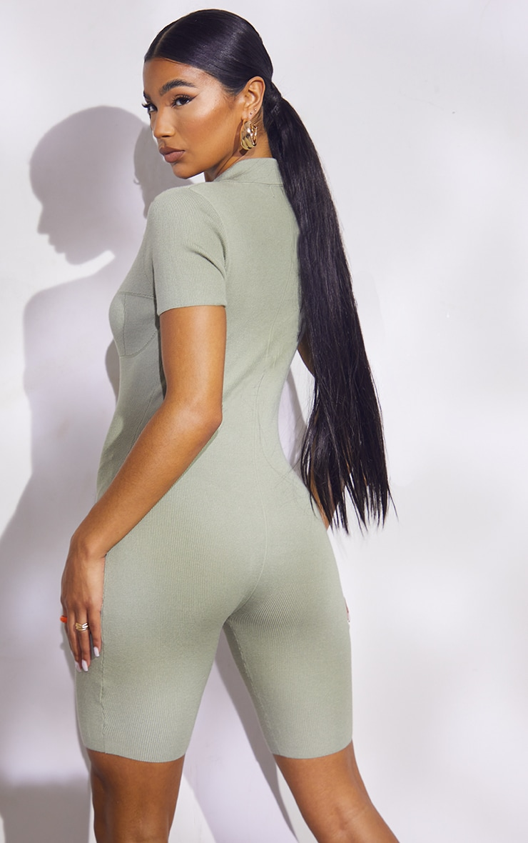 Sage Green Premium Ribbed Knitted Bust Detail Playsuit 2