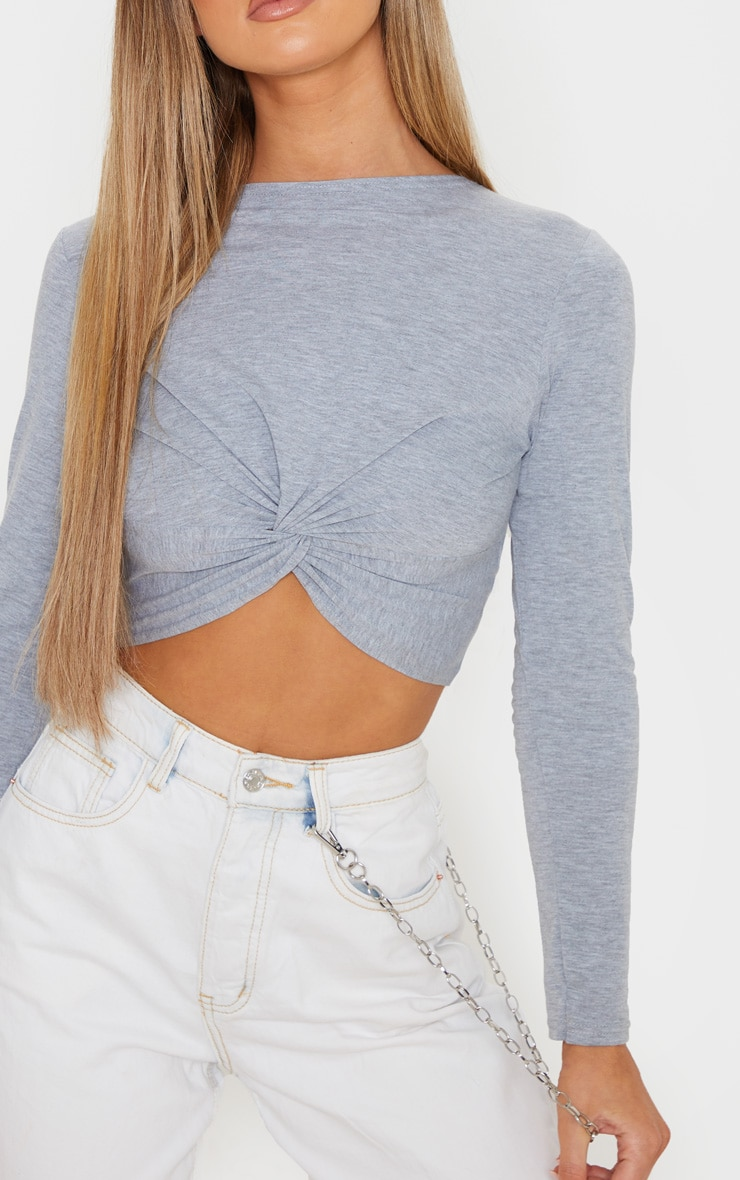 Grey Jersey Long Sleeve Knot Hem Crop Top 5