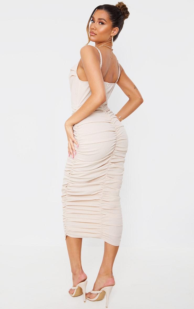 Stone Textured Strappy Cowl Neck Ruched Midaxi Dress 1