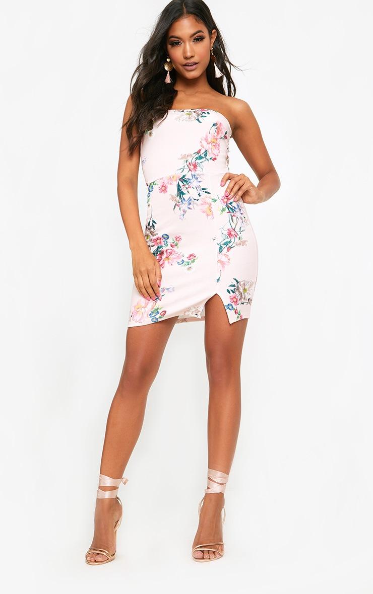 Pink Floral Split Detail Bandeau Bodycon Dress 4