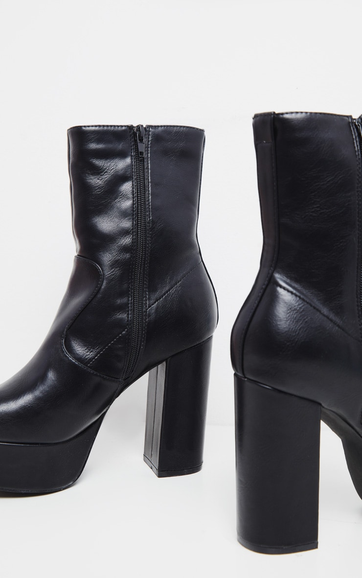 Black High Platform Ankle Boots 4