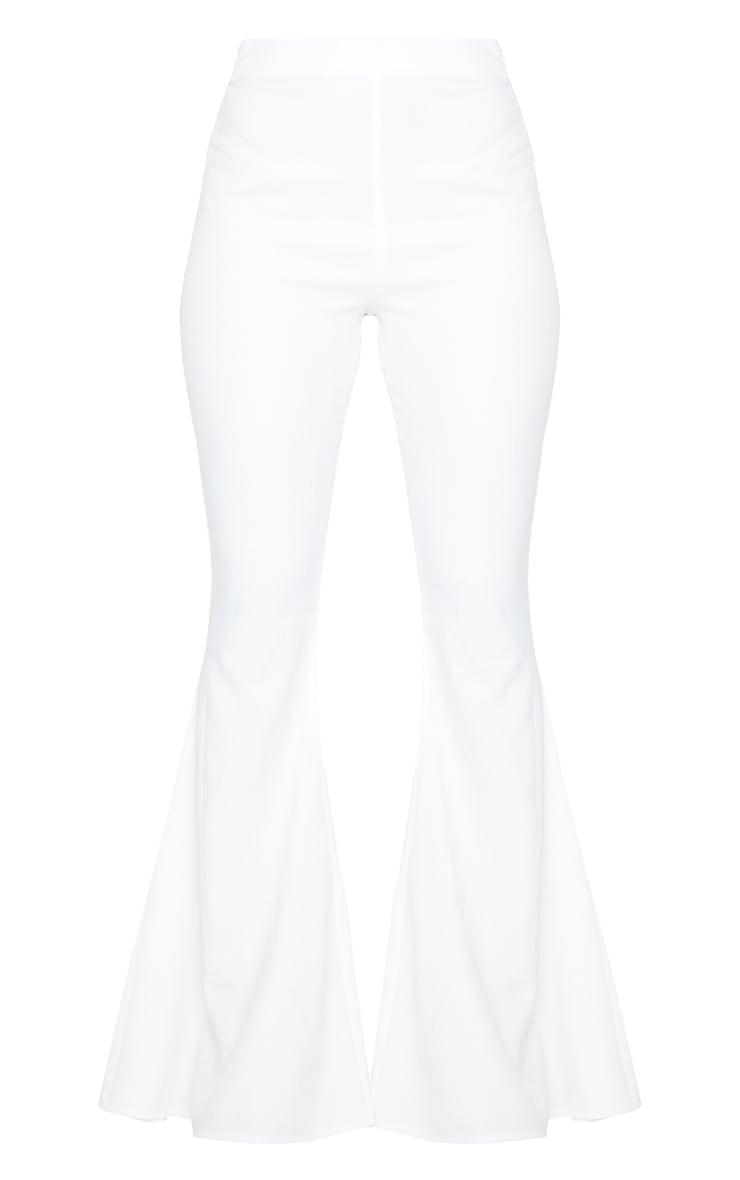 White Woven High Waist Extreme Flare Leg Pants 5