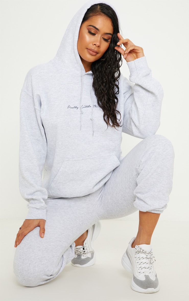 PRETTYLITTLETHING Ash Grey Embroidered Oversized Hoodie 4