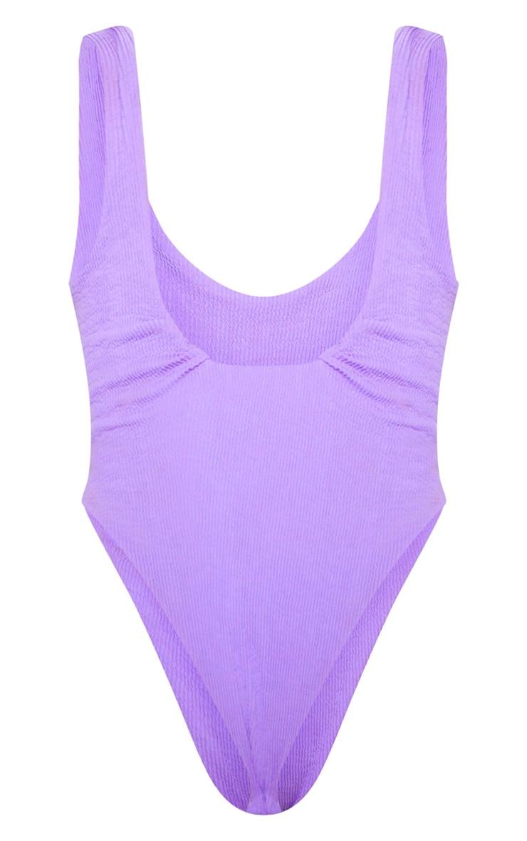 Purple Crinkle High Leg Swimsuit 6
